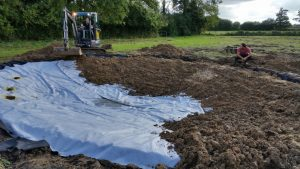 Protected above and below with tough geotextile fabric, the pond liner is completely safe. Backfilling with subsoil gives a completely natural final look to your wildlife pond